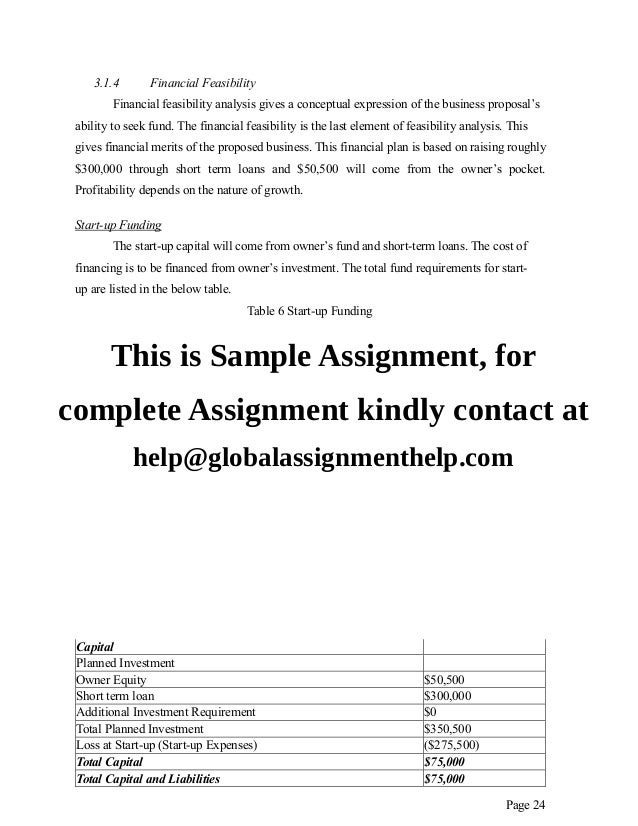 business plan assignment sample