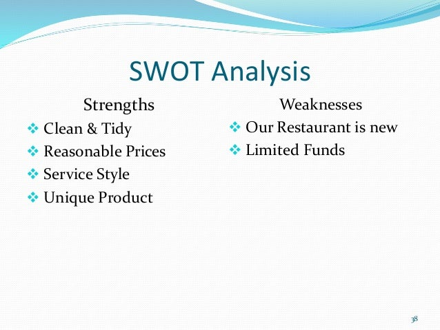 restaurant swot A & w's restaurants as a brand is evaluated in terms of its swot analysis, competition, segment, target group, positioning its tagline/slogan and unique selling proposition are also covered.