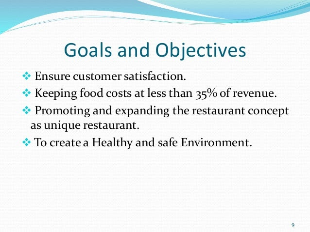 goals of a restaurant business plan