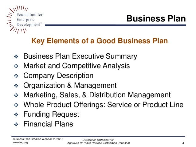 ... Distribution Unlimited) 3; 4. Key Elements Of A Good Business Plan ...