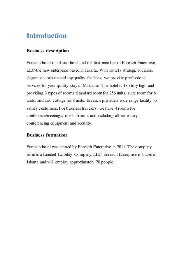 business plan description of facility