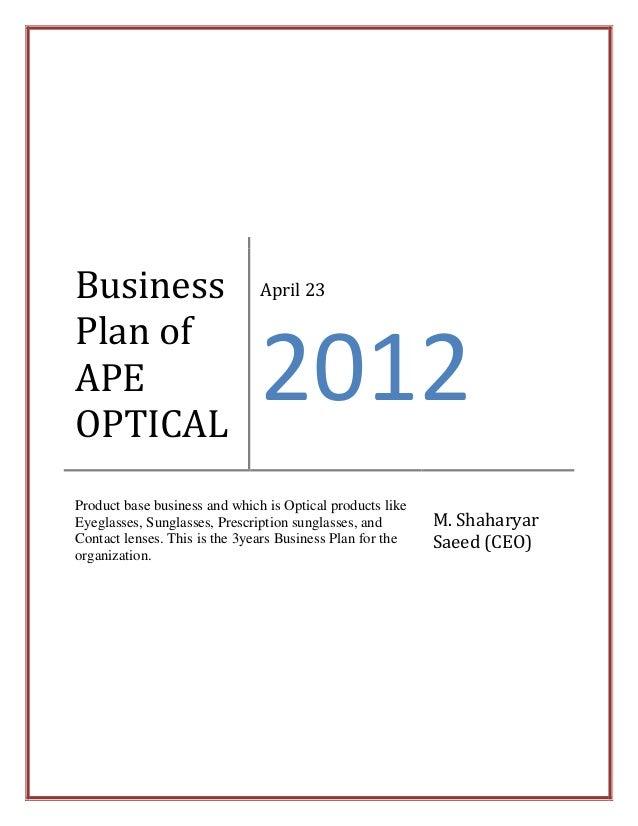 Sunglasses business plan