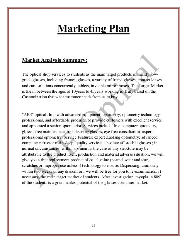 market analysis summary of a business plan