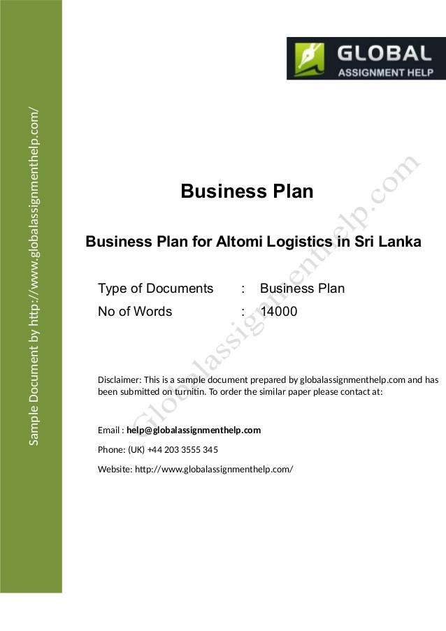 Business plan for a company assignment sample sampledocumentbyhtpglobalassignmenthelp business plan business plan for altomi 2012 altomi logistics flashek Choice Image