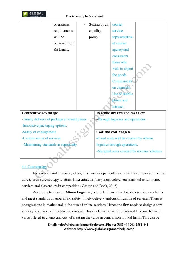 Business Plan for a Company Assignment Sample
