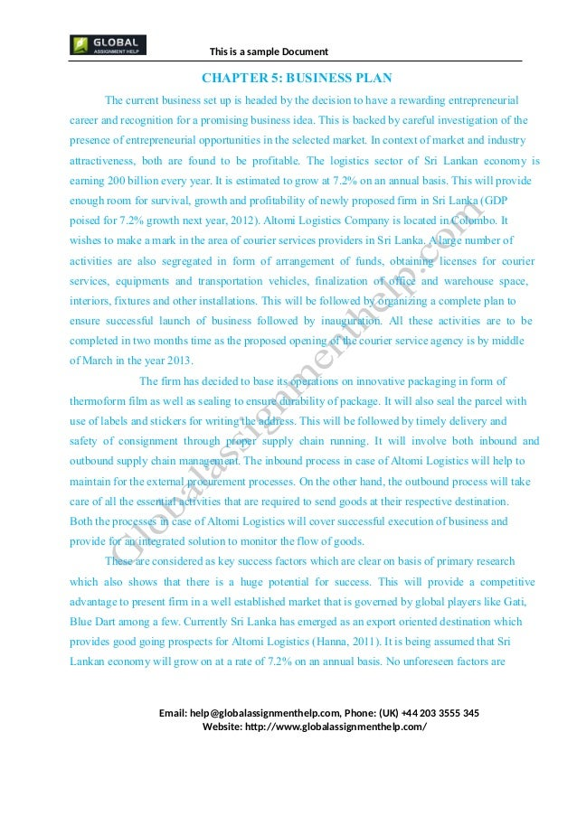 Essay Example: Business Plan (Only for Course Assignment)
