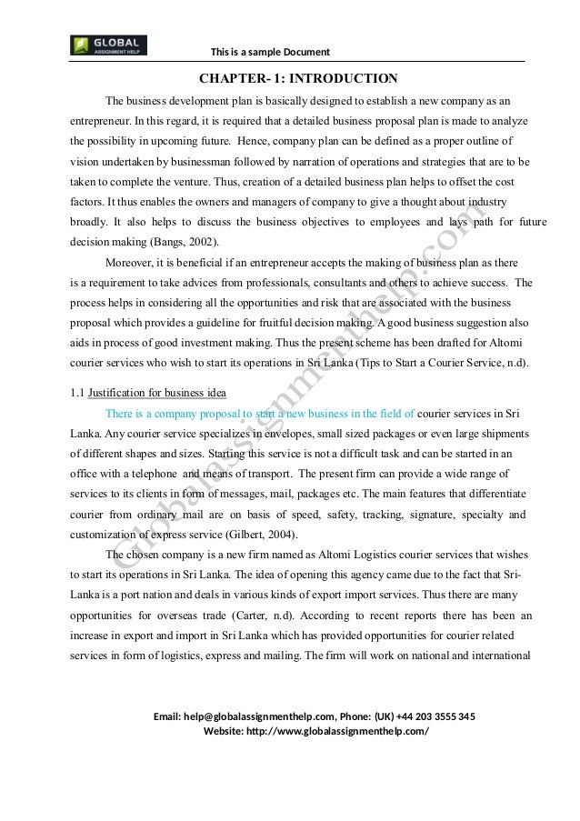 business plan  business plan for a company assignment sample