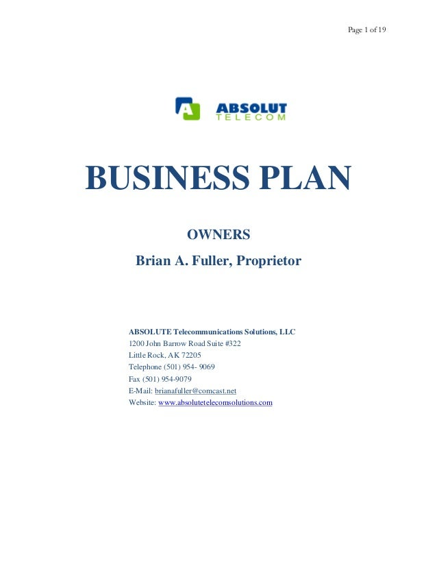 Telecommunications Sample Business Plan