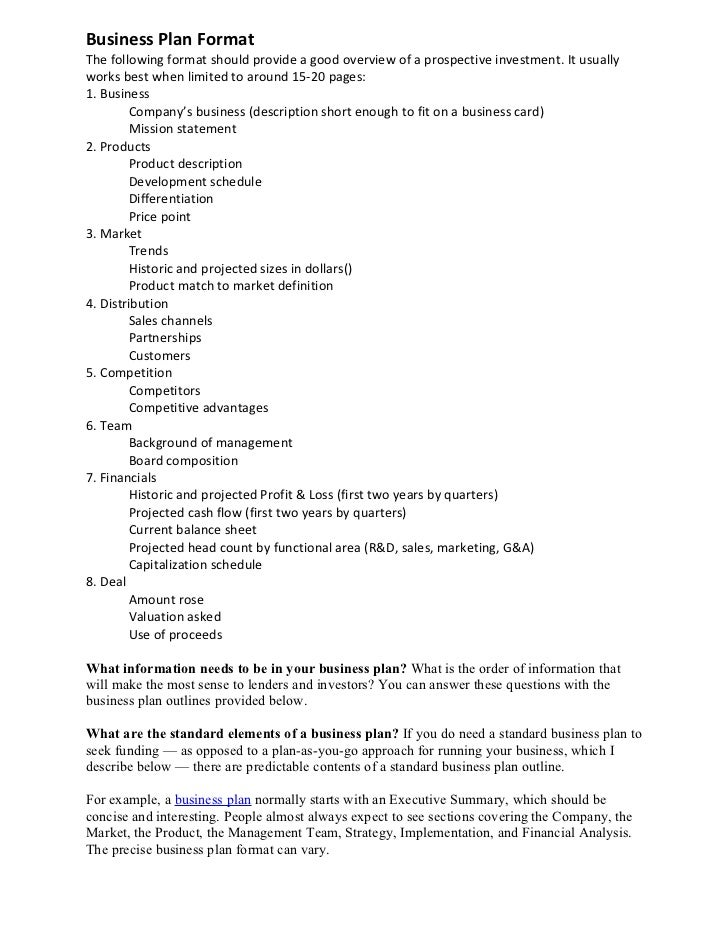 Business Plan Format - Corporate business plan template