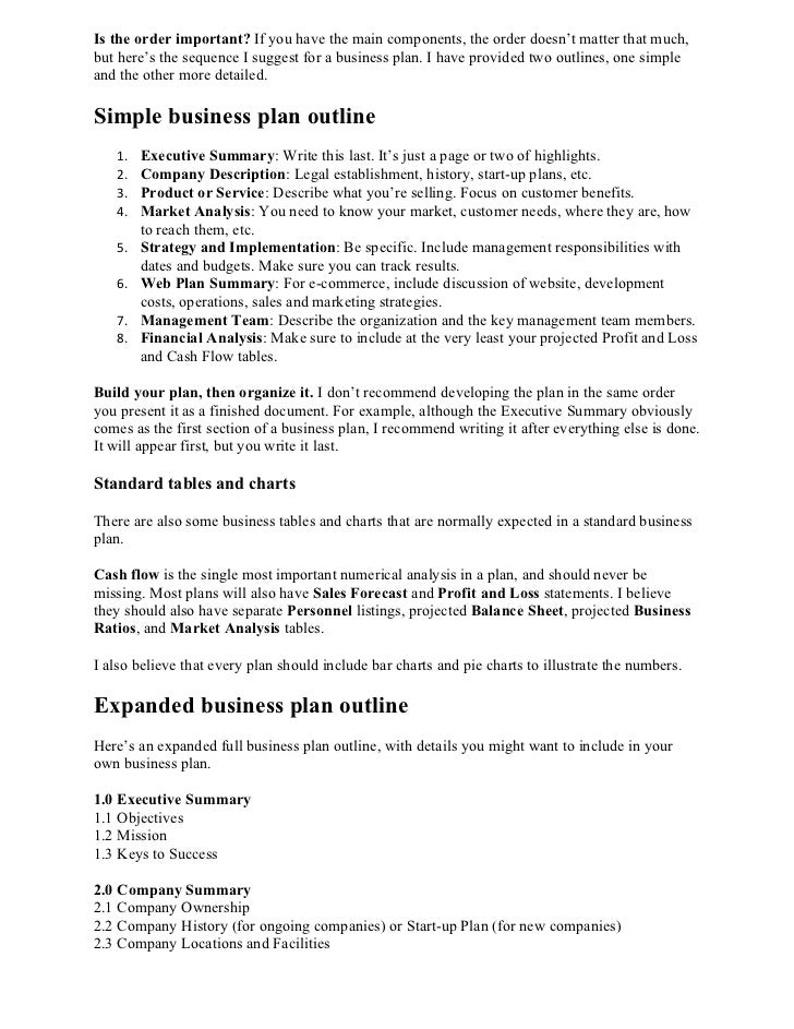 Business Plan Format - Business plan outline template