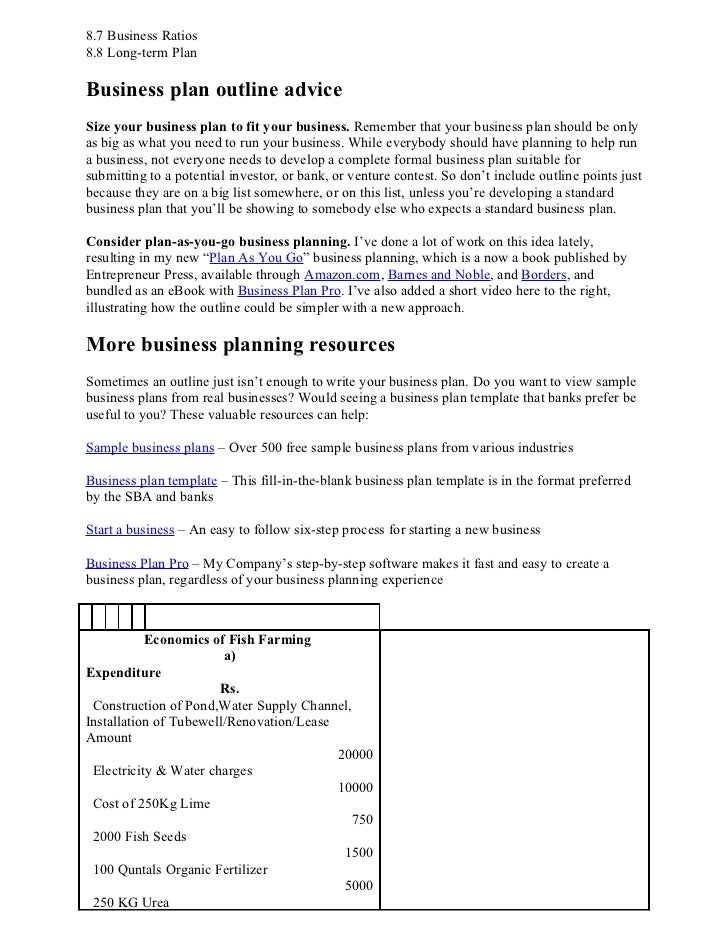 ... Projected Balance Sheet; 4. 8.7 Business Ratios8.8 Long Term  PlanBusiness Plan Outline ...