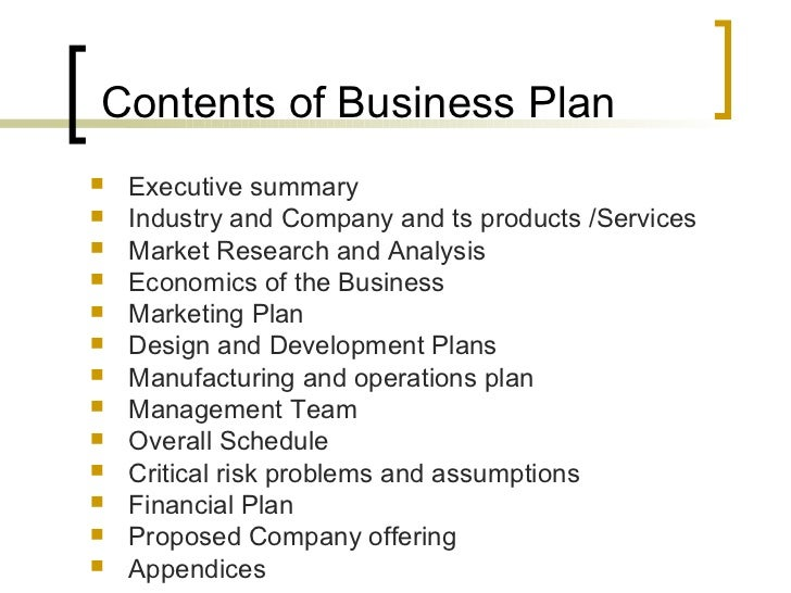 format on how to prepare a business plan