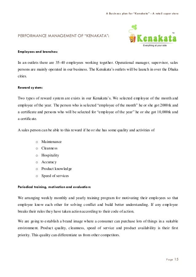 Business plan for retail store manager