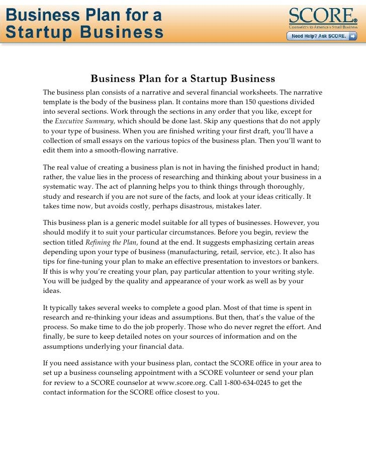 Help creating business plan