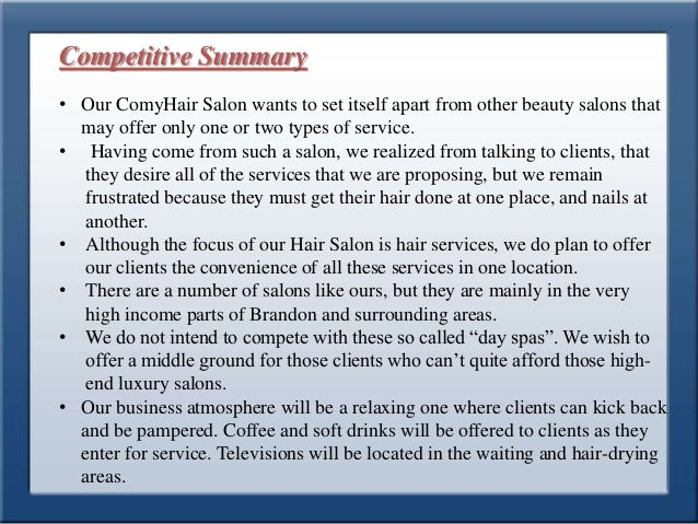 Business plan for style park hair saloon for A business plan for a beauty salon