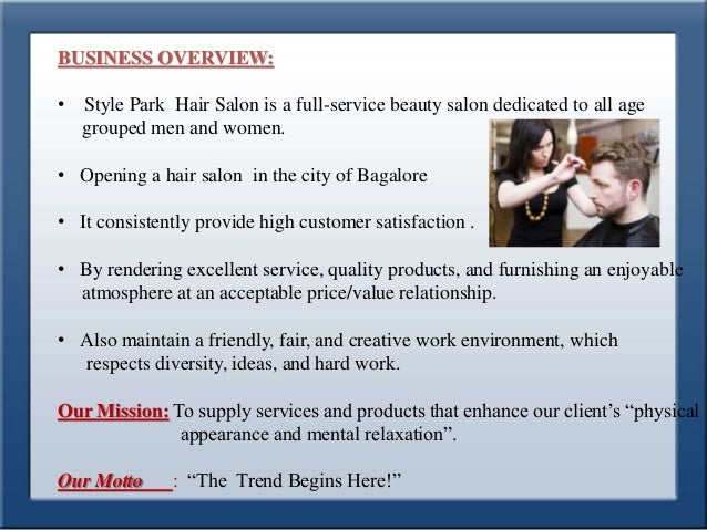Business plan for style park hair saloon for A salon business plan