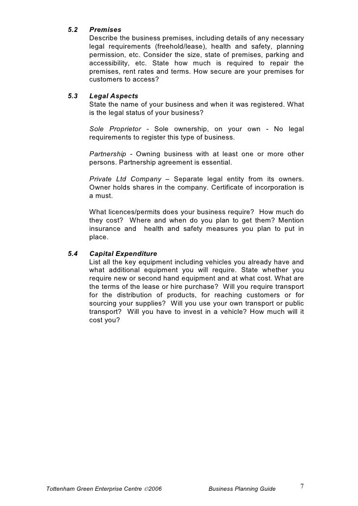 ownership and legal structure of a business plan example