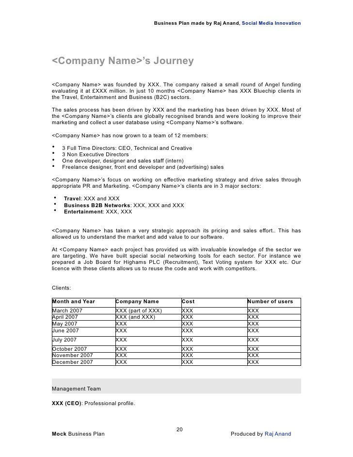 Business Plan template to 'Grow a business'