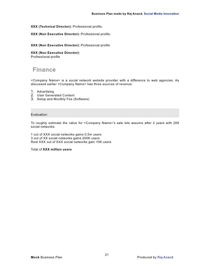 Business Plan Template To Grow A Business
