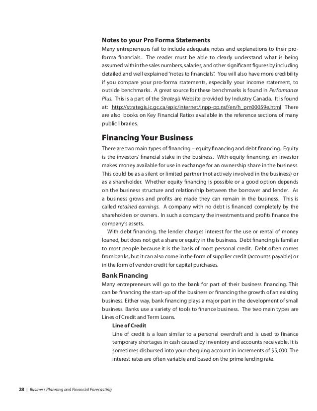 business planning financial forecasting pdf