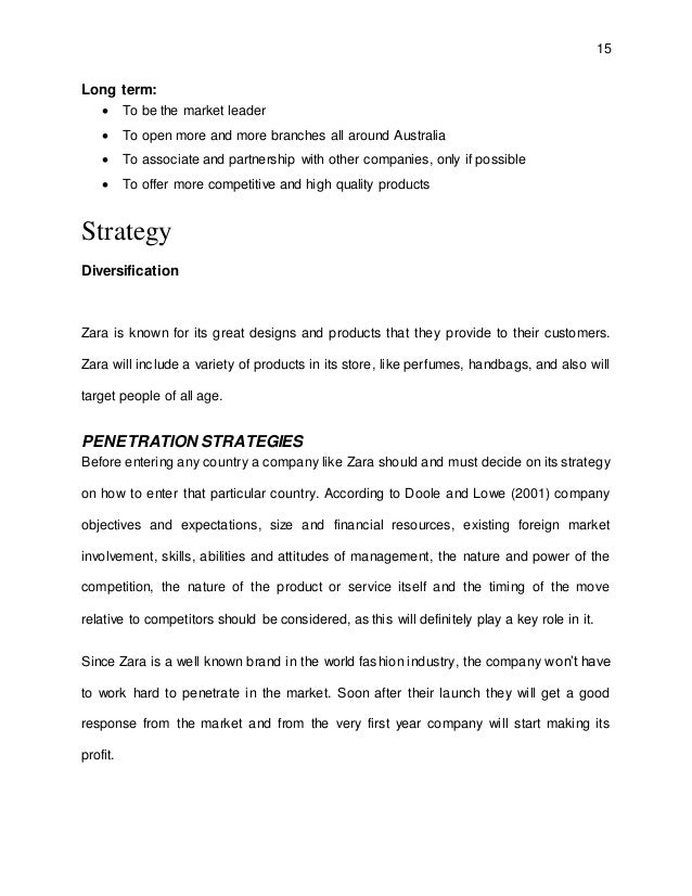 Business Planning Assignment Zara