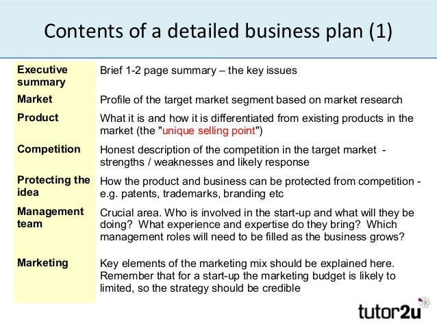 contents of a business plan tutor2u