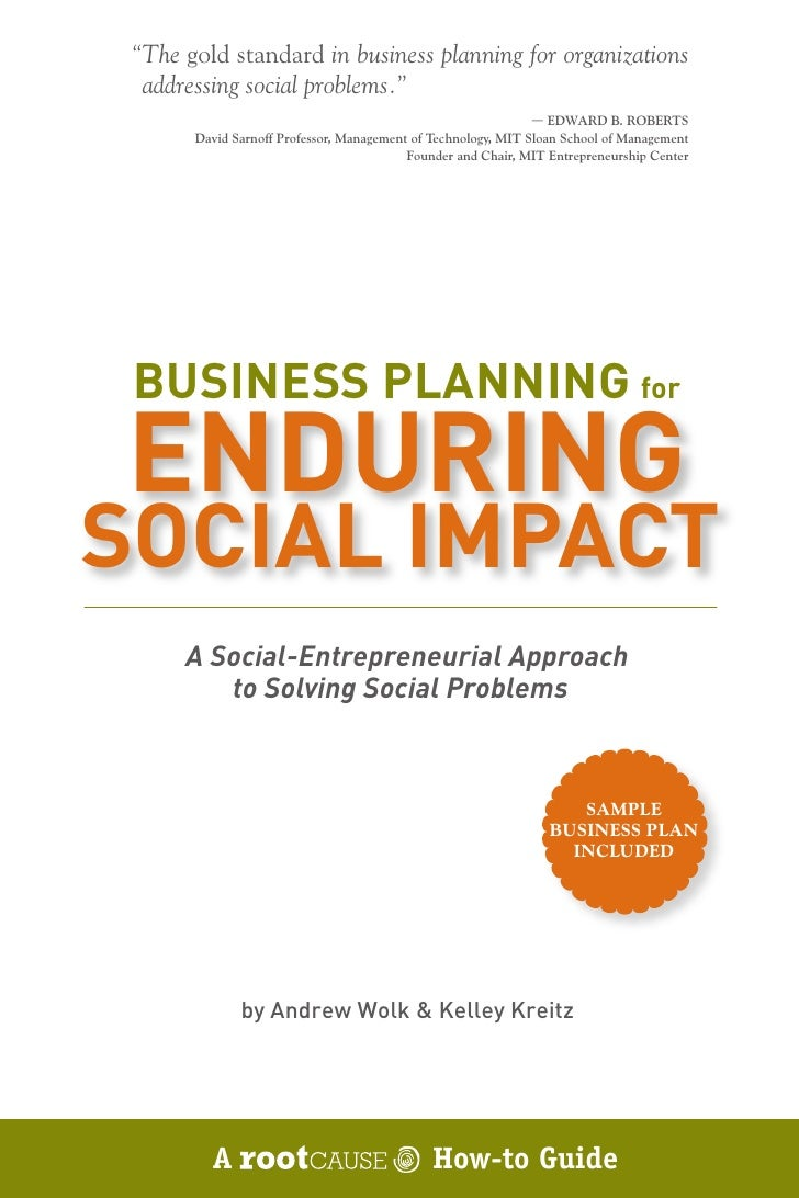 """The gold standard in business planning for organizations   addressing social problems.""                                  ..."