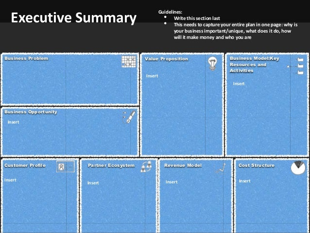 Business Planning Template – One Page Executive Summary Template