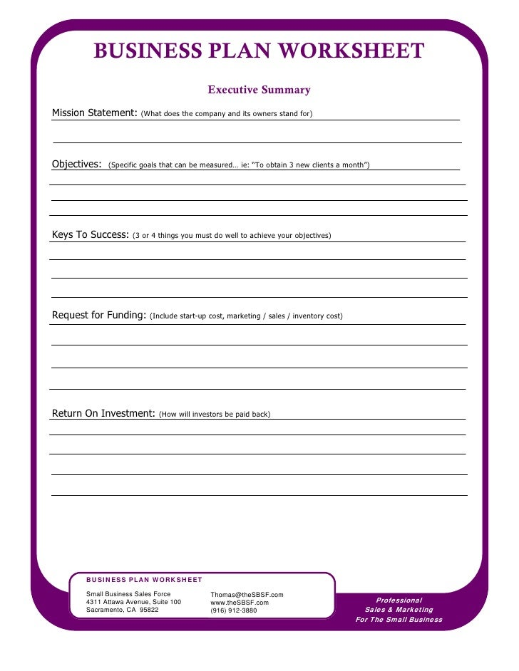 Business planning worksheet