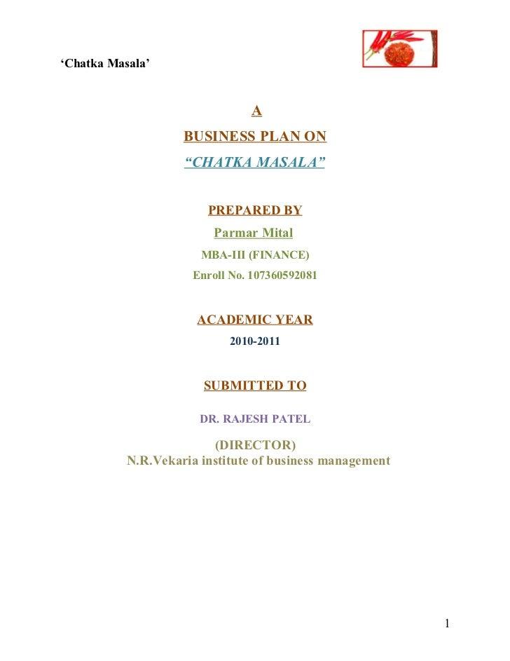 Business plan of chatka masala