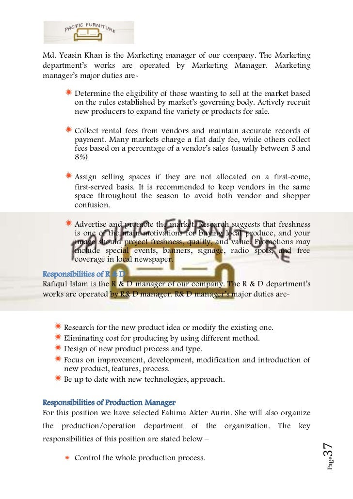 Example of furniture business plan
