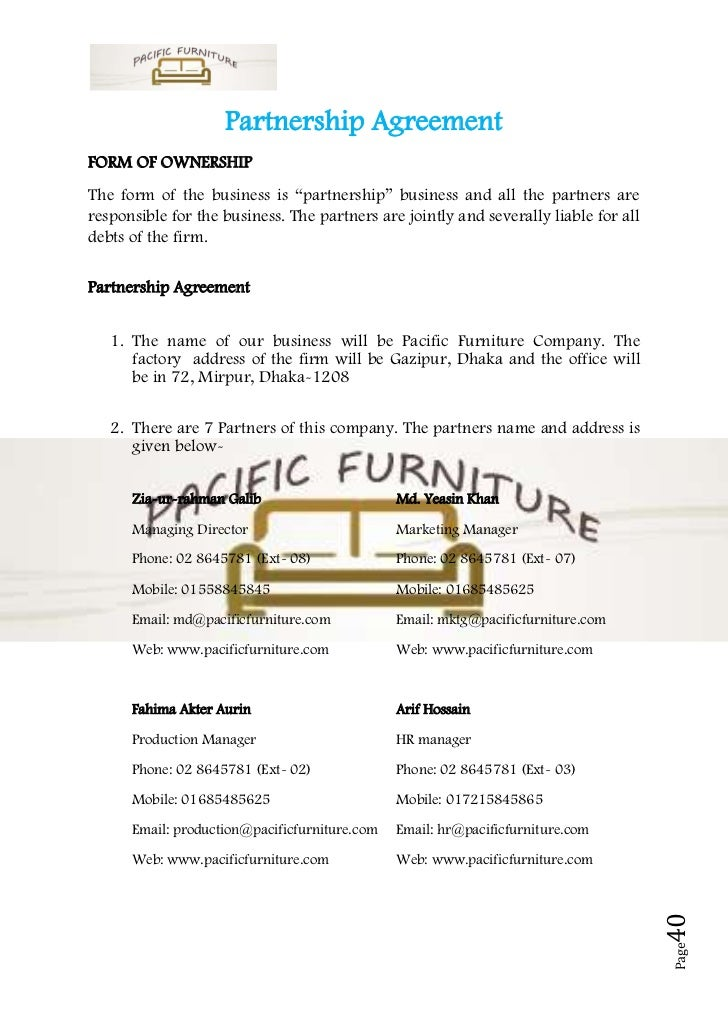 Business plan sample on furniture partnership agreementform accmission Images