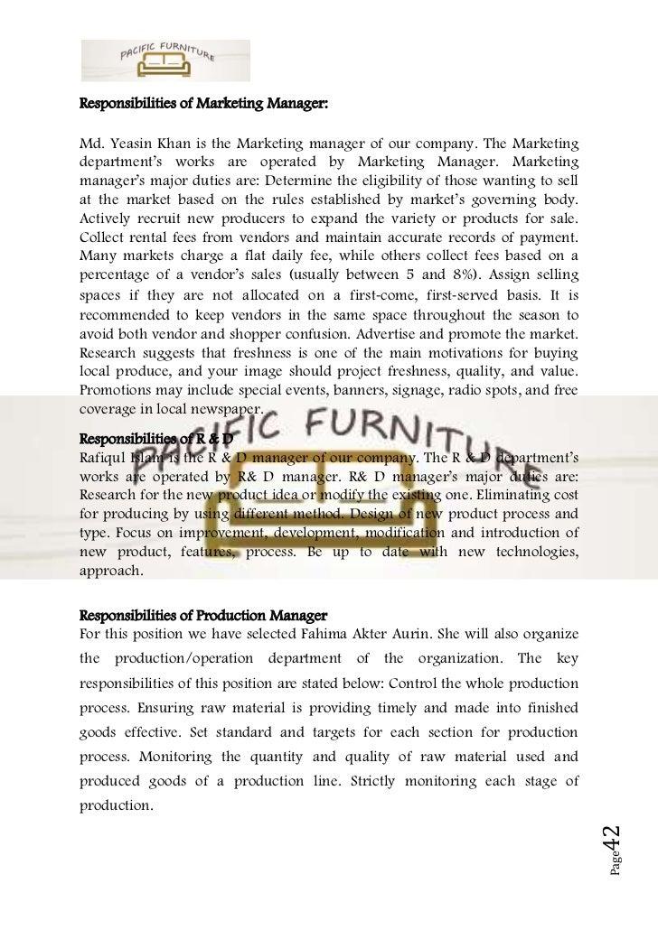 Business plan sample on furniture