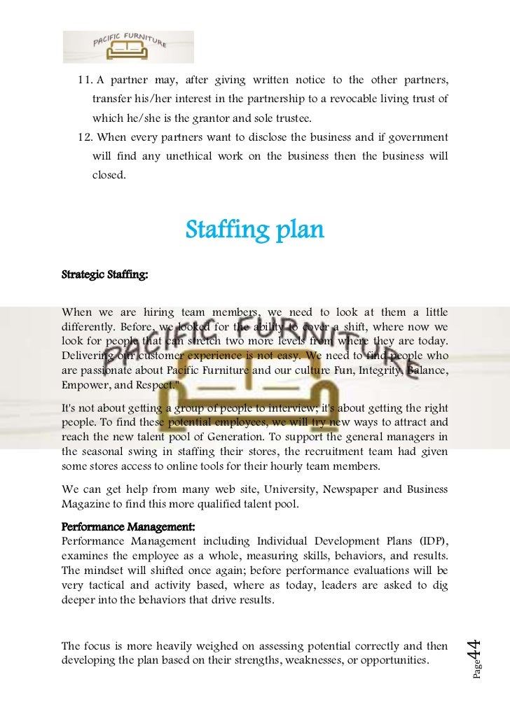 Business Plan Sample On Furniture - Partner business plan template