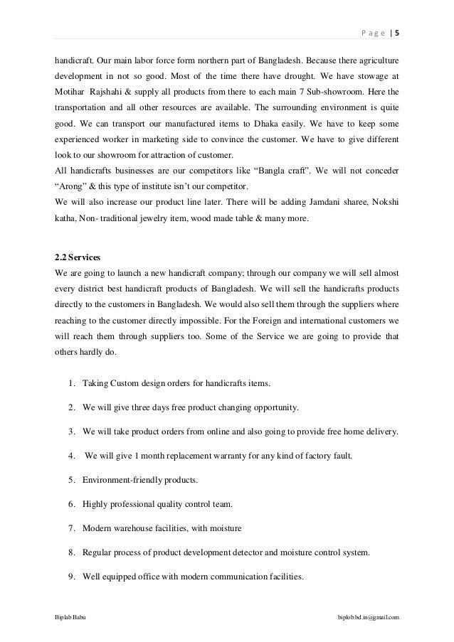 Business plan on handicraft    doc