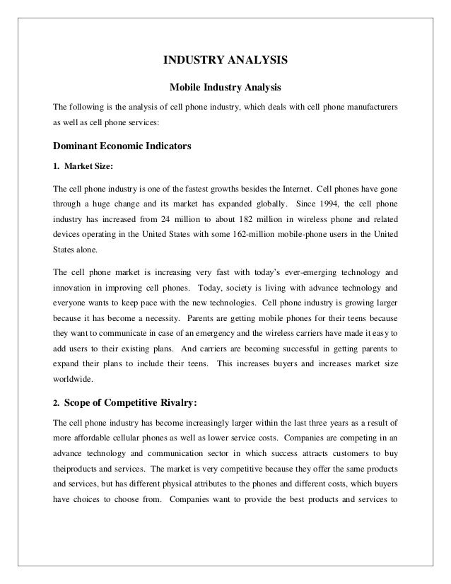 Research outline on cell phone companies