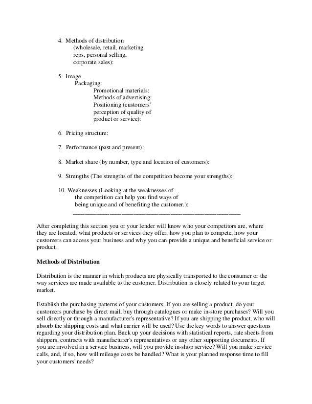 how to write a business outline