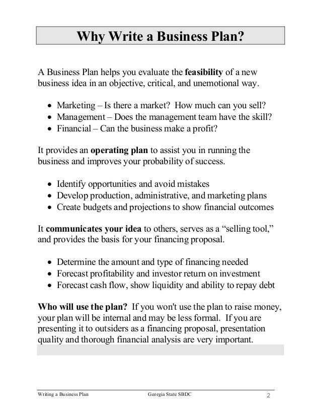Why not write a business plan