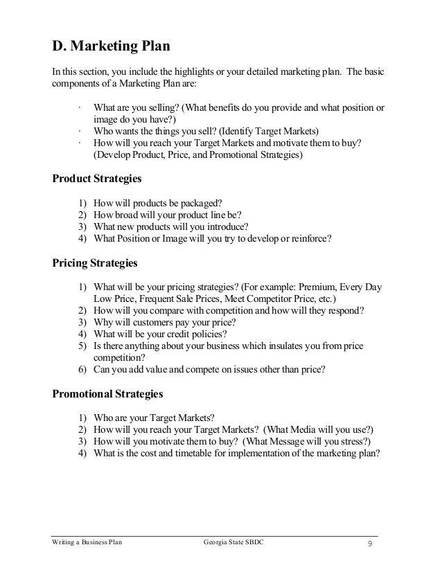 9. Writing A Business Plan ...