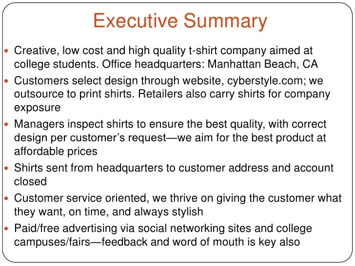 executive summary powerpoint examples