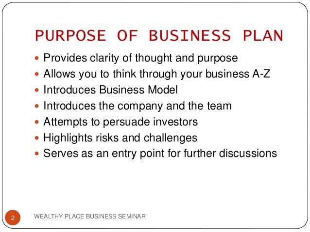 Purpose for preparing business plan