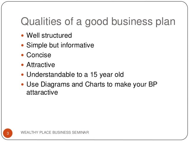 Qualities of a good business plan