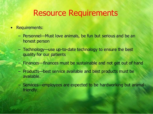 resource requirements business plan