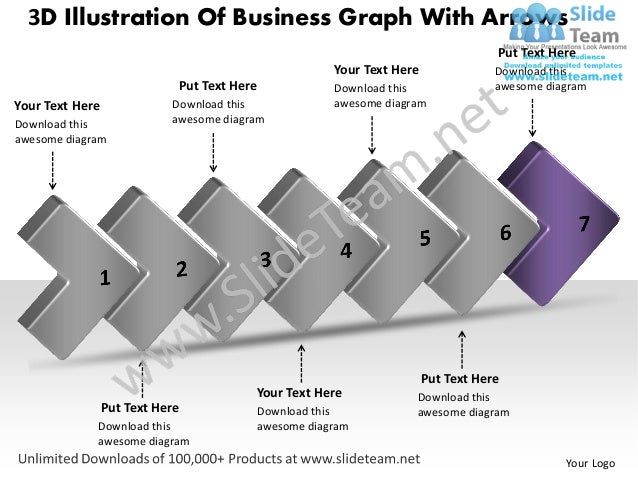 Business plan presentation template 3d illustration of graph with arr…