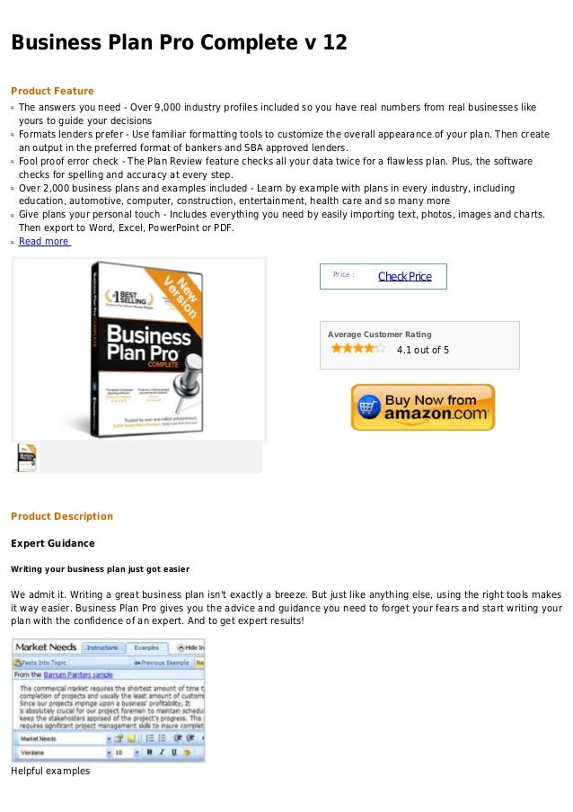 Business Plan Pro Complete v 12Product Featureq   The answers you need - Over 9,000 industry profiles included so you have...
