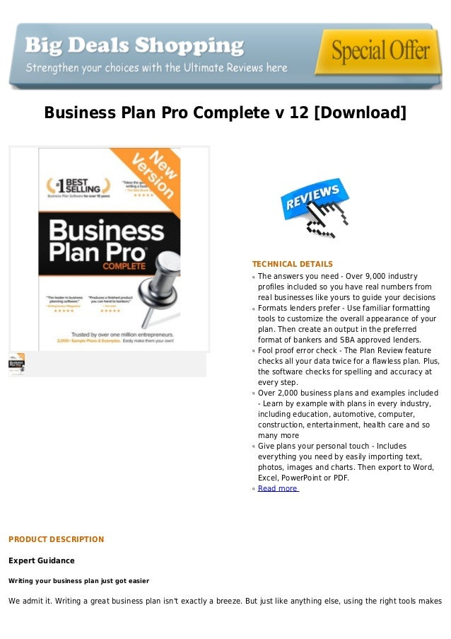 Business Plan Pro Complete v 12 [Download]TECHNICAL DETAILSThe answers you need - Over 9,000 industryqprofiles included so...