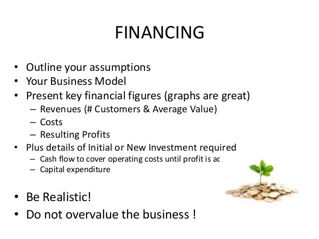FINANCING • Outline your assumptions • Your Business Model • Present key financial figures (graphs are great) – Revenues (...