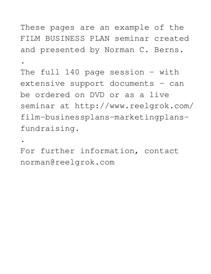 Film Production Business Plans (Intro Only)