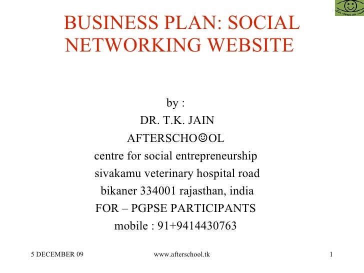 Business plan template social networking website