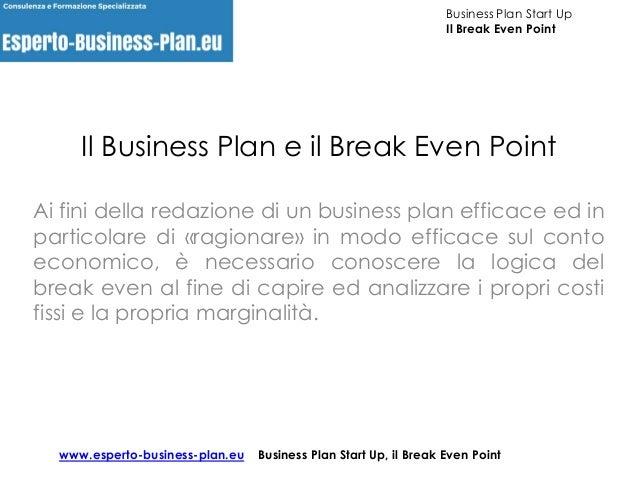 break even point business plan
